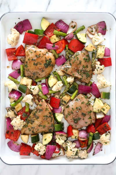 Sheet Pan Roasted Balsamic Herb Chicken and Vegetables