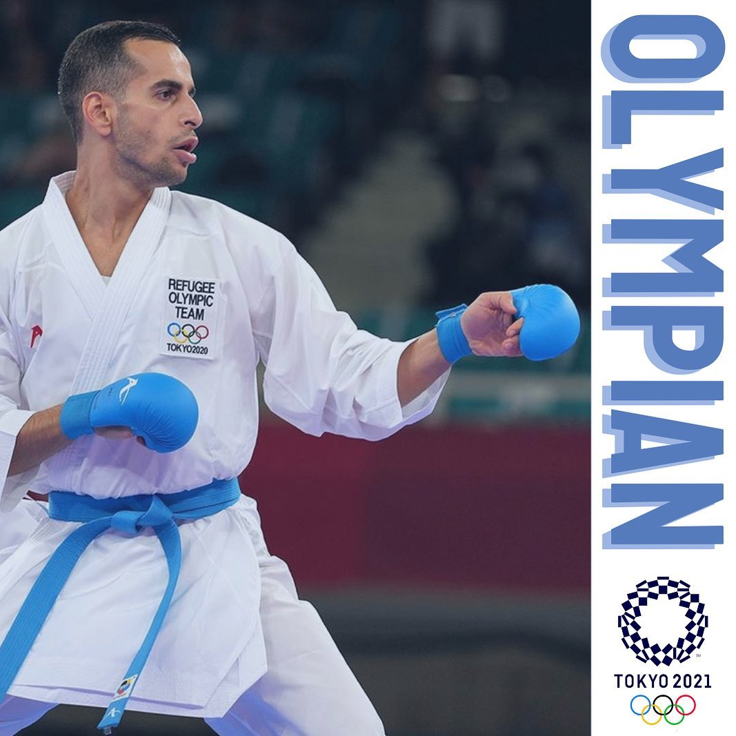Hamoon Derafshipour competing in the Tokyo 2020 Olympic Games.